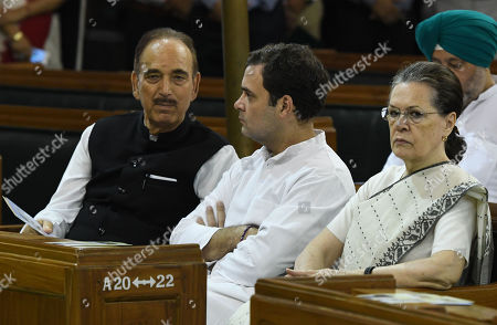 Congress President Sonia Gandhi (R)  party leader Rahul Gandhi (C) and  Ghulam Nabi Azad  at a function inside the parliament house to pay tribute Mahatma Gandhi in New Delhi, India 02 October 2019. Indian commemorates the 150th birth anniversary of Mahatma Gandhi, amid hundreds of events taking place across the world to mark the event.