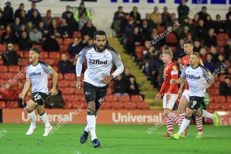 2nd October 2019, Oakwell, Barnsley, England; Sky Bet Championship, Barnsley v Derby County : Tom Huddlestone (44) of Derby County celebrates his goal after he scores a penalty to make it 1-2 Credit: Mark Cosgrove/News Images