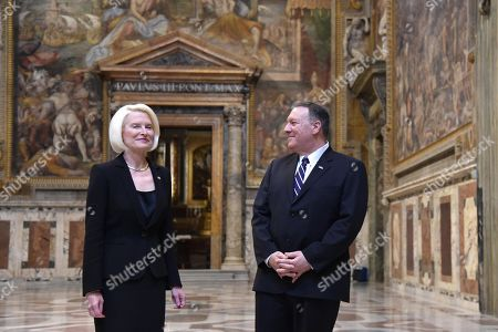 US Secretary of State Mike Pompeo and US Ambassador to the Holy See, Callista Gingrich visit the Sala Regia state hall ater attending the launch of a Vatican - US Symposium on Faith-Based Organizations (FBOs), in the Vatican, 02 October 2019, as part of Pompeo's four-nation tour of Europe.