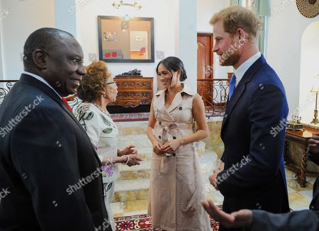 Prince Harry and Meghan Duchess of Sussex during a meeting with President Cyril Ramaphosa at Pretoria, South Africa