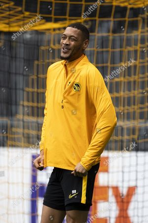 Bern's Guillaume Hoarau reacts during a training session one day before the UEFA Europa League group stage match between Switzerland's BSC Young Boys Bern and Scotland's Glasgow Rangers, at the Stade de Suisse Stadium in Bern, Switzerland, 02 October 2019.