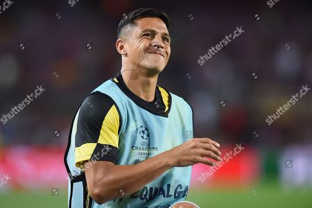 Stock Picture of Alexis Sanchez of Inter de Milan smiles during the warm up