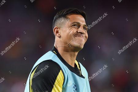 Alexis Sanchez of Inter de Milan smiles during the warm up