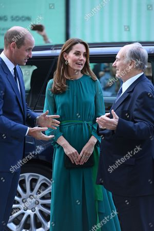 Prince William and Catherine Duchess of Cambridge are greeted by Prince Shah Karim Al Hussaini, Prince Karim Aga Khan during a visit to the Aga Khan Centre