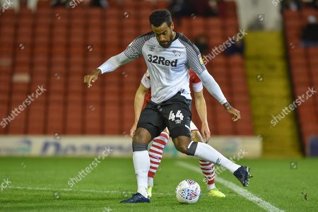2nd October 2019, Oakwell, Barnsley, England; Sky Bet Championship, Barnsley v Derby County :Tom Huddlestone (44) of Derby County with the ball. Credit: Dean Williams/News Images