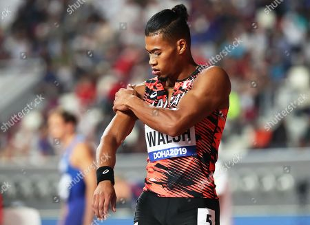 Julian Jrummi Walsh of Japan prepares to compete in the men's 400m semi finals at the IAAF World Athletics Championships 2019 at the Khalifa Stadium in Doha, Qatar, 02 October 2019.
