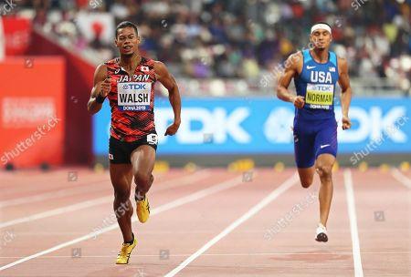 Julian Jrummi Walsh (L) of Japan in action during the men's 400m semi finals at the IAAF World Athletics Championships 2019 at the Khalifa Stadium in Doha, Qatar, 02 October 2019.
