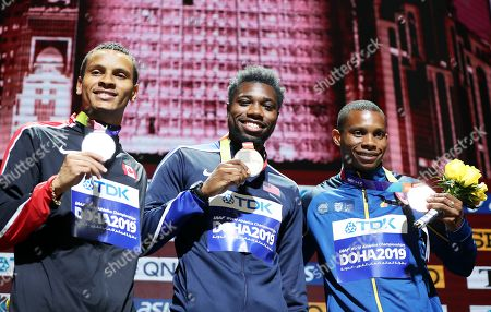 Stock Image of Gold medalist Noah Lyles (C) of the USA, silver medalist Andre de Grasse (L) of Canada and bronze medalist Alex Quinonez of Ecuador during the medal ceremony for the Men's 200m at the IAAF World Athletics Championships 2019 at the Khalifa Stadium in Doha, Qatar, 02 October 2019.