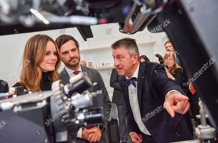 Princess Sofia of Sweden and Prince Carl Philip get to try Microscope and MRI-equipment under the guidance of Professor Francisco De Lacerd at the Brain Imaging Centre