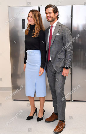 Stock Photo of Princess Sofia of Sweden and Prince Carl Philip get to try Microscope and MRI-equipment at the Brain Imaging Centre