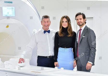 Stock Image of Princess Sofia of Sweden and Prince Carl Philip get to try Microscope and MRI-equipment at the Brain Imaging Centre