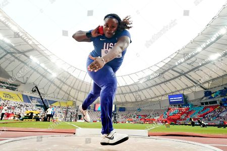 Michelle Carter, of the United States, competes in the women's shot put qualifications at the World Athletics Championships in Doha, Qatar