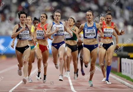 Gabriela Debues-Stafford of Canada, Marta Pérez, of Spain, Laura Muir, of Great Britain, Jenny Simpson, of the United States, Claudia Mihaela Bobocea, of Romania, competete in the women's 1500 meter heats at the World Athletics Championships in Doha, Qatar