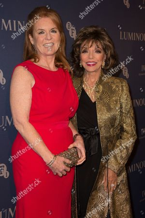 Sarah Ferguson, Joan Collins. Sarah Ferguson, left poses for photographers with Joan Collins, upon arrival at the premiere of the film 'Judy' in central London, Tuesday, Oct.1, 2019