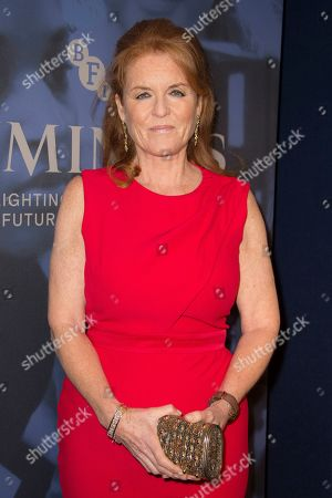 Sarah Ferguson poses for photographers upon arrival at the premiere of the film 'Judy' in central London, Tuesday, Oct.1, 2019