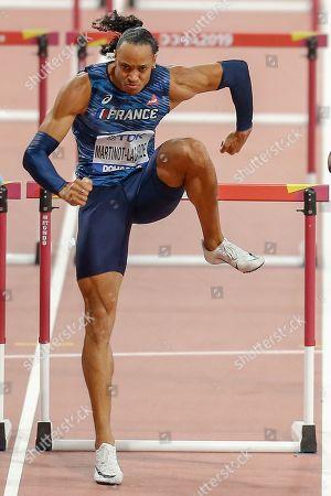 Wenjun Xie (China), Pascal Martinot-Lagarde (France), Omar McLeod (Jamaica), 110 Metres Hurdles Men Semi-Final, Heat 2, during the 2019 IAAF World Athletics Championships at Khalifa International Stadium, Doha