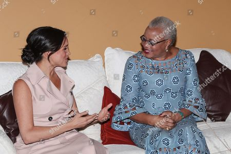 Meghan Duchess of Sussex meet with Graca Machel, widow of Nelson Mandela at the High Commissioner's residence in Johannesburg, South Africa.