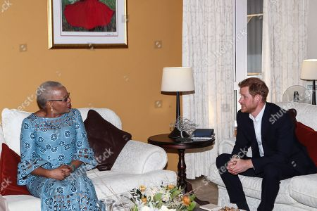 Stock Photo of Prince Harry meets with Graca Machel, widow of Nelson Mandela at the High Commissioner's residence in Johannesburg, South Africa.