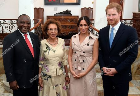 Britain's Prince Harry and Meghan Duchess of Sussex, meet with South Africa's President Cyril Ramaphosa and his wife Tshepo Motsepe at Presidential Official Residence in Pretoria, South Africa 02 October 2019. The Duke and Meghan Duchess of Sussex are on an official visit to South Africa.