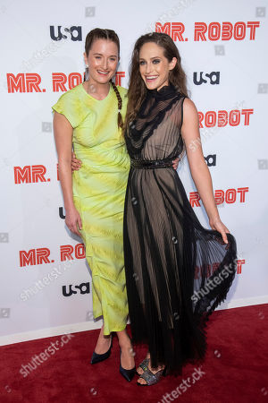 """Carly Chaikin, Grace Gummer. Grace Gummer, left, and Carly Chaikin attend USA Network's """"Mr. Robot"""" season 4 premiere at the Village East Cinema, in New York"""