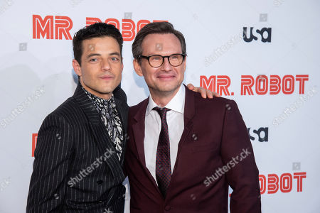 "Christian Slater, Rami Malek. Rami Malek, left, and Christian Slater attend USA Network's ""Mr. Robot"" season 4 premiere at the Village East Cinema, in New York"
