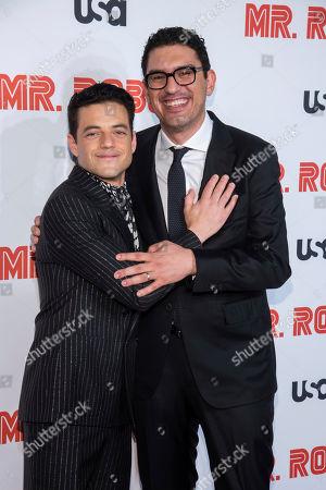 "Rami Malek, Sam Esmail. Rami Malek, left, and Sam Esmail attend USA Network's ""Mr. Robot"" season 4 premiere at the Village East Cinema, in New York"