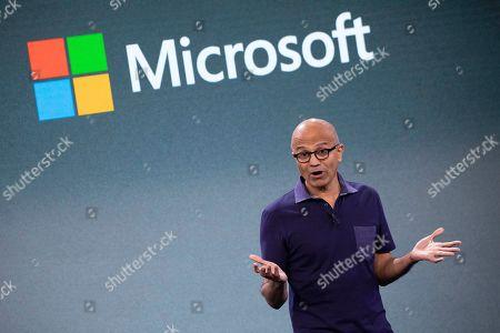 Microsoft CEO Satya Nadella talks during a company event, in New York
