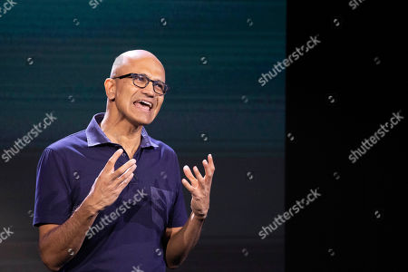 Stock Image of Microsoft CEO Satya Nadella talks during a company event, in New York