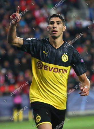 Achraf Hakimi of Borussia Dortmund celebrates after scoring the 2-0 lead during the UEFA Champions League Group F match between Slavia Prague and Borussia Dortmund in Prague, Czech Republic, 02 October 2019.