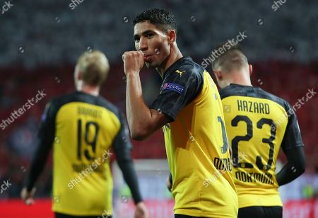 Stock Photo of Achraf Hakimi of Borussia Dortmund reacts after scoring the 2-0 lead during the UEFA Champions League Group F match between Slavia Prague and Borussia Dortmund in Prague, Czech Republic, 02 October 2019.