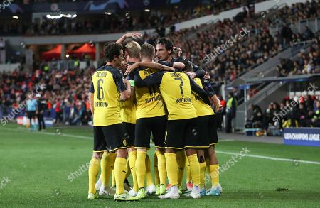 Borussia Dortmund team mates celebrate the goal of Achraf Hakimi during the UEFA Champions League Group F match between Slavia Prague and Borussia Dortmund in Prague, Czech Republic, 02 October 2019.