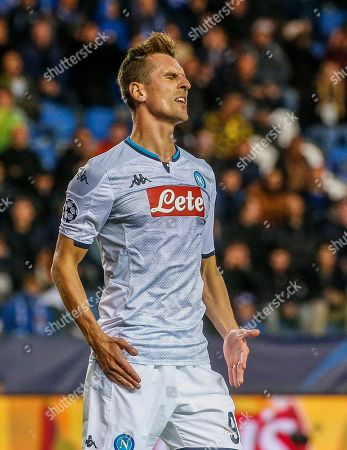 Napoli's Arkadiusz Milik reacts during the UEFA Europa League Group E soccer match between KRC Genk and SSC Napoli at Luminus Arena in Genk, Belgium, 02 October 2019.