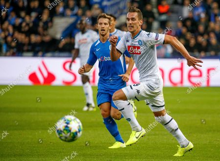 Napoli's Arkadiusz Milik (R) in action during the UEFA Europa League Group E soccer match between KRC Genk and SSC Napoli at Luminus Arena in Genk, Belgium, 02 October 2019.