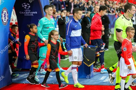 Chelsea defender Cesar Azpilicueta (28) leads Chelsea out of the tunnel during the Champions League match between Lille OSC and Chelsea at Stade Pierre Mauroy, Lille