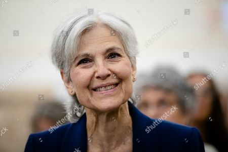 Former Green Party presidential candidate Jill Stein waits to speak at a board of elections meeting at City Hall, in Philadelphia, . Stein wants Pennsylvania to block Philadelphia from using new touchscreen machines it's buying ahead of 2020's elections and is threatening court action if it doesn't do so promptly