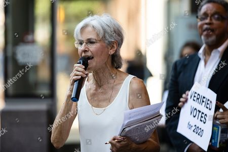Former Green Party presidential candidate Jill Stein speaks outside the federal courthouse in Philadelphia, . Stein wants Pennsylvania to block Philadelphia from using new touchscreen machines it's buying ahead of 2020's elections and is threatening court action if it doesn't do so promptly