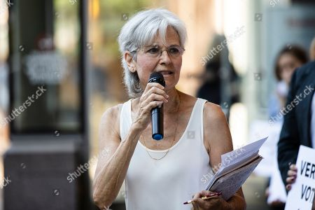 Stock Image of Former Green Party presidential candidate Jill Stein speaks outside the federal courthouse in Philadelphia, . Stein wants Pennsylvania to block Philadelphia from using new touchscreen machines it's buying ahead of 2020's elections and is threatening court action if it doesn't do so promptly