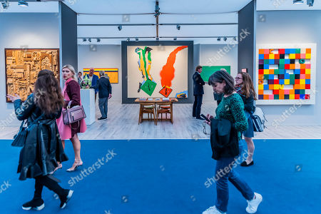 Stock Photo of British Pop art incl a large piece by Allen Jones in Hazlitt Holland-Hibbert at Regents Park