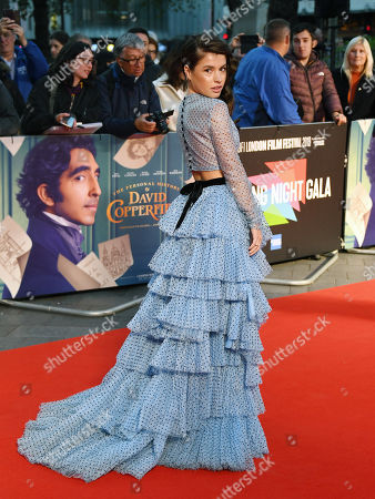Aimee Kelly arrives during the European film premiere of The Personal History of David Copperfield at Leicester Square in London, Britain, 02 October 2019. The 2019 BFI London Film Festival runs from 02 to 13 October.