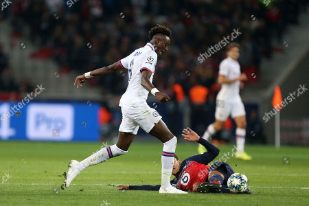 Stock Image of Benjamin Andre of Lille OSC and Tammy Abraham of Chelsea during Lille OSC vs Chelsea, UEFA Champions League Football at Stade Pierre-Mauroy on 2nd October 2019