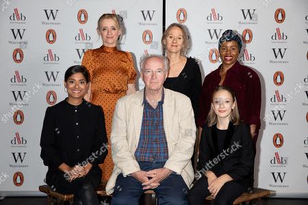 Best selling writer Sir Philip Pullman with actors Anne-Marie Duff, Raffiella Chapman, Niamh Cusack, Helen Aluko and Dinita Gohil at Alexandra Palace Theatre, ahead of the launch of Pullman's new novel, The Secret Commonwealth, published by Penguin Random House on 3rd October 2019.