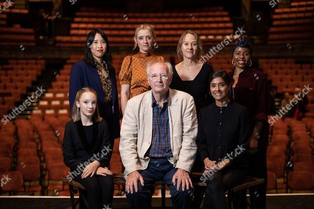Best selling writer Sir Philip Pullman, pictured with journalist Zing Tseng and actors Anne-Marie Duff, Raffiella Chapman, Niamh Cusack, Helen Aluko and Dinita Gohil at Alexandra Palace Theatre, ahead of the launch of Pullman's new novel, The Secret Commonwealth, published by Penguin Random House on 3rd October 2019.