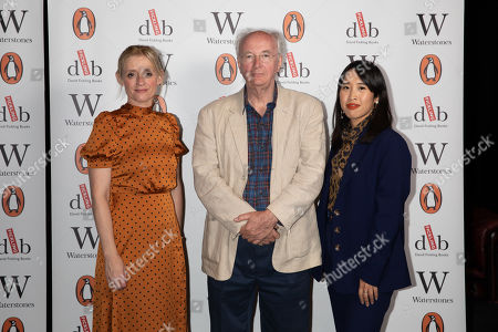 Best selling writer Sir Philip Pullman, pictured with journalist Zing Tseng (R) and actors Anne-Marie Duff (L) at Alexandra Palace Theatre, ahead of the launch of Pullman's new novel, The Secret Commonwealth, published by Penguin Random House on 3rd October 2019.
