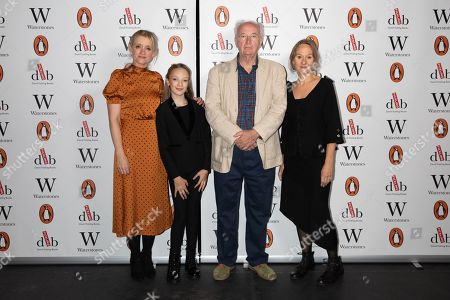 Best selling writer Sir Philip Pullman, pictured with actors Anne-Marie Duff, Raffiella Chapman, and Niamh Cusack at Alexandra Palace Theatre, ahead of the launch of Pullman's new novel, The Secret Commonwealth, published by Penguin Random House on 3rd October 2019.