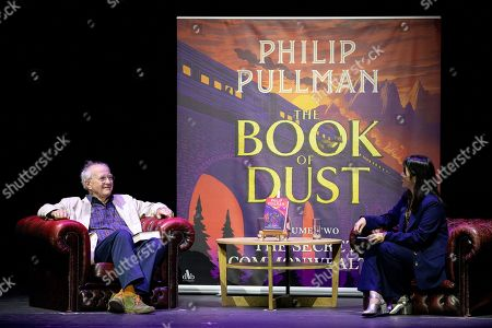 Bestselling writer Sir Philip Pullman, Q&A with journalist Zing Tseng at Alexandra Palace Theatre, ahead of the launch of Pullman's new novel, The Secret Commonwealth, published by Penguin Random House on 3rd October 2019.