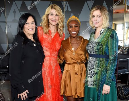 Barbara Kopple, Laura Dern, Cynthia Erivo, Greta Gerwig. Director Barbara Kopple, left, actor Laura Dern, actor Cynthia Erivo and actor-director Greta Gerwig pose together at the Academy of Motion Picture Arts and Sciences Women's Initiative New York luncheon at the Rainbow Room, in New York