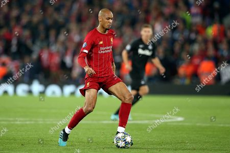 Stock Image of Liverpool midfielder Fabinho (3) during the Champions League match between Liverpool and FC Red Bull at Anfield, Liverpool