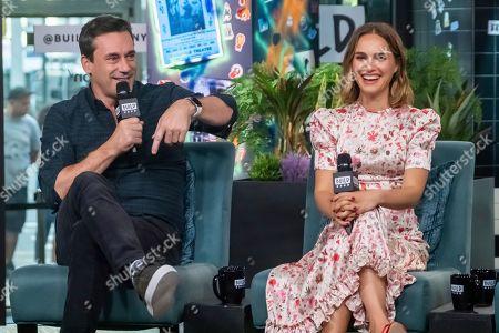 "Jon Hamm, Natalie Portman. Jon Hamm and Natalie Portman participate in the BUILD Speaker Series to discuss the film ""Lucy in th Sky"" at BUILD Studio, in New York"