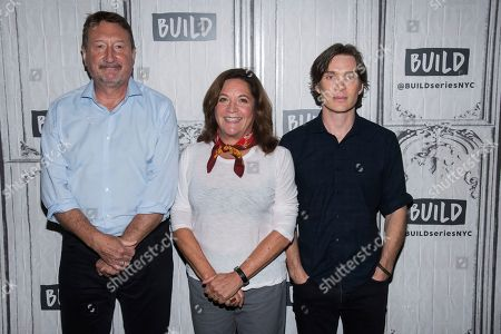 """Cillian Murphy, Steven Knight, Caryn Mandabach. Steven Knight, left, Caryn Mandabach and Cillian Murphy participate in the BUILD Speaker Series to discuss the televison show """"Peaky Blinders"""" at BUILD Studio, in New York"""
