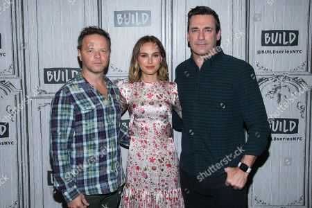 "Noah Hawley, Natalie Portman, Jon Hamm. Noah Hawley, left, Natalie Portman and Jon Hamm participate in the BUILD Speaker Series to discuss the film ""Lucy in th Sky"" at BUILD Studio, in New York"